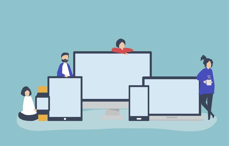 Mensen en digitale apparaten met exemplaarruimte