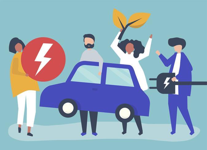 Gruppe von Personen mit einem Elektroauto