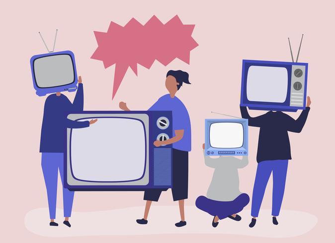 Illustrazione di carattere di persone con icone TV analogiche