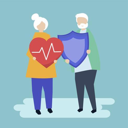 Pareja mayor con iconos de seguro de salud