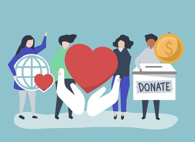 Personer som bär donations- och välgörenhetsrelaterade ikoner