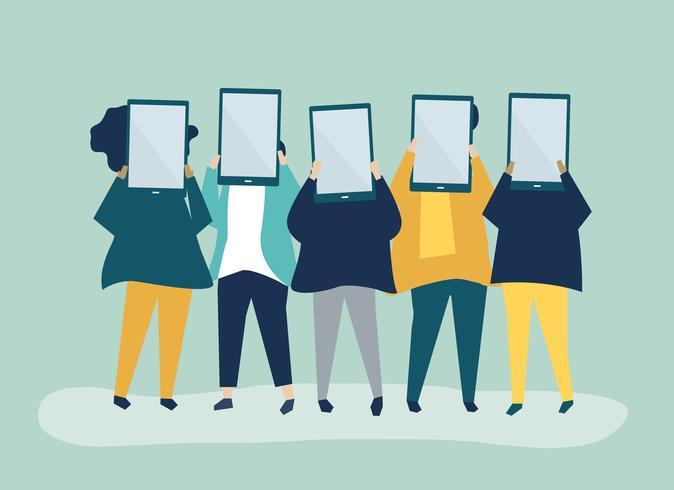 Illustration de personnages de personnes tenant des tablettes numériques