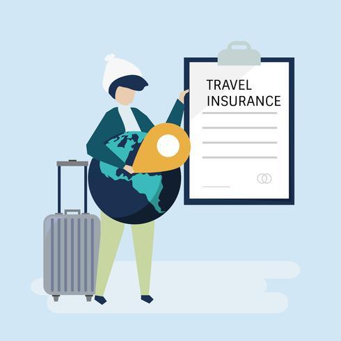 Un viajero con un documento de póliza de seguro de viaje.