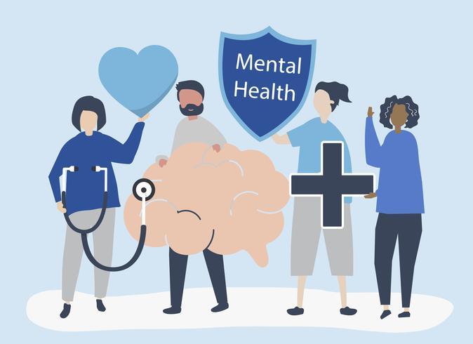 Pessoas segurando ícones relacionados à saúde mental
