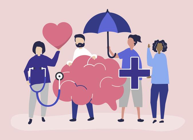 Die Leute, die Ikonen halten, bezogen sich auf psychische Gesundheit