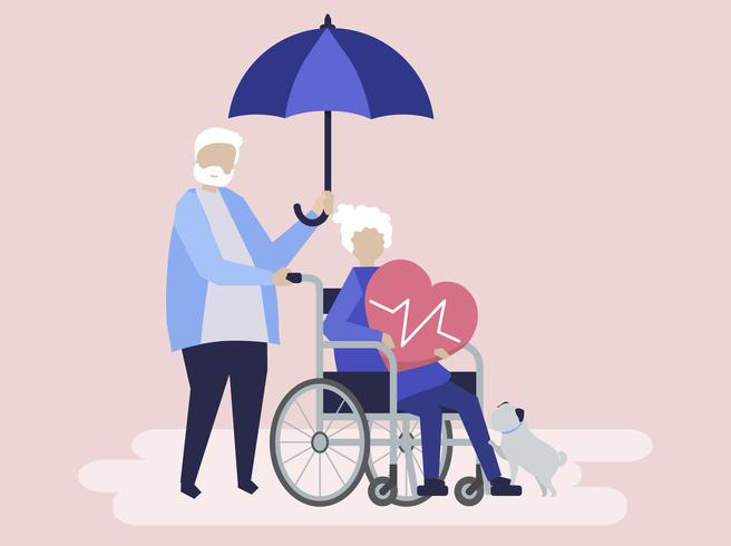 Casal sênior com ícones relacionados com o seguro de saúde