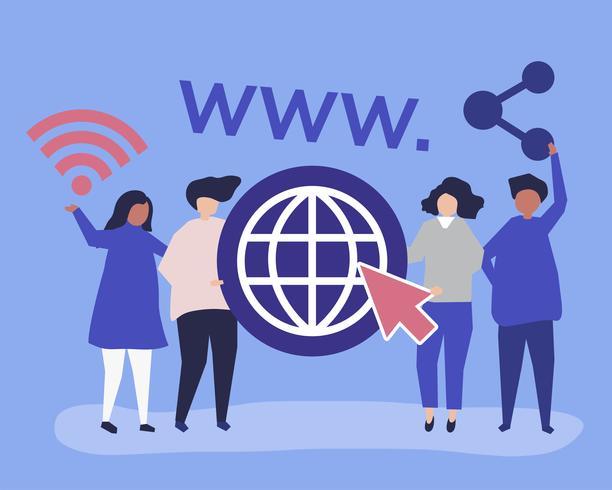 Ilustração de personagem de pessoas segurando ícones da world wide web