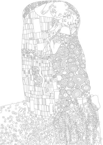 The kiss, painting by Gustav Klimt. Adult coloring page.