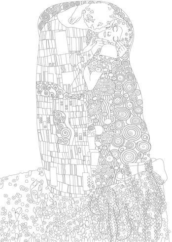 Kleurplaten Voor Volwassenen Met Nummers.De Kus Schilderij Van Gustav Klimt Volwassen Kleurplaat