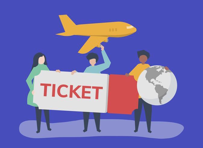 Människor som har en flygbiljett reserelaterade ikoner