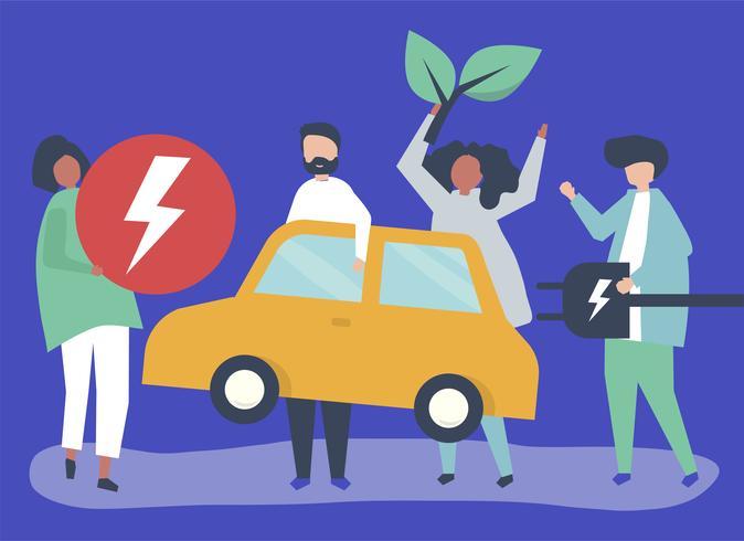 Grupp av personer med en elbil