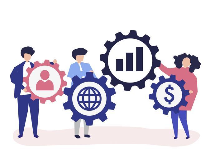 Karakterillustratie van bedrijfsmensen die strategiepictogrammen houden