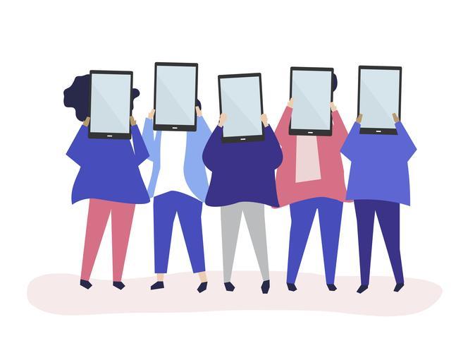 Ilustración de personaje de personas con tabletas digitales