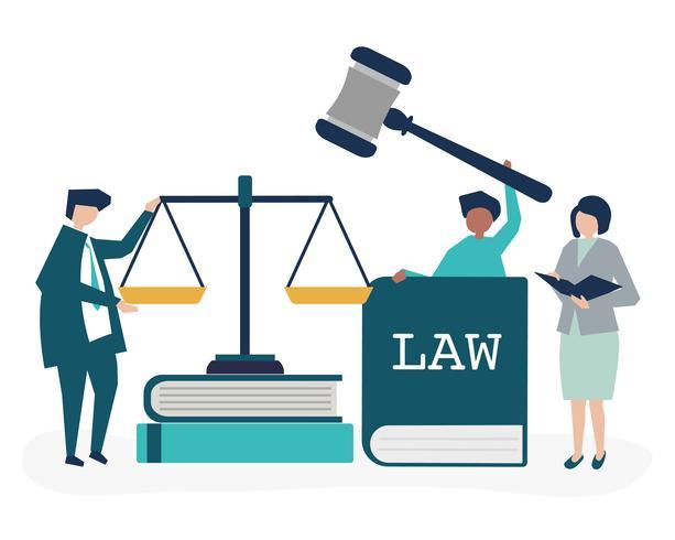 Ilustração, de, pessoas, com, justiça, e, ordem, ícones