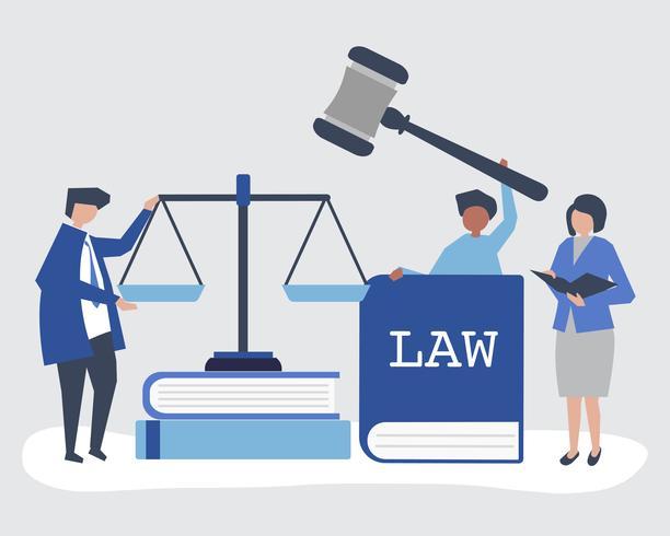 Illustrazione delle persone con icone di giustizia e ordine