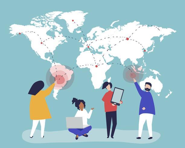 Ilustração de personagens de pessoas com o conceito de rede global