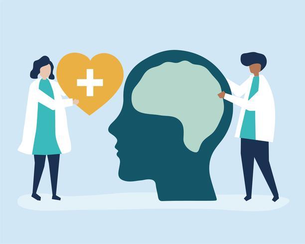 Neurocientistas com um gráfico gigante do cérebro humano e um ícone de um coração