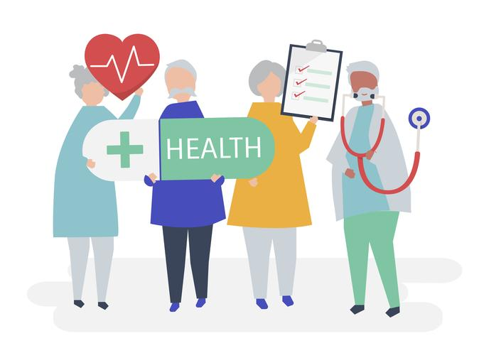 Character illustration of elderly people holding health icons