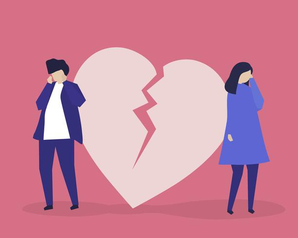 Tecken illustration av par med en heartbreak ikon