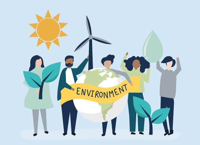 Människor med miljöhållbarhetskoncept