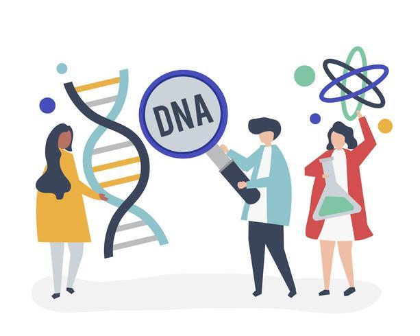 Cientistas genéticos realizando pesquisas e experimentos