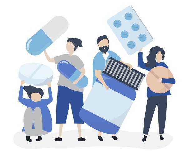 Personagens de pessoas segurando ilustração farmacêutica de ícones