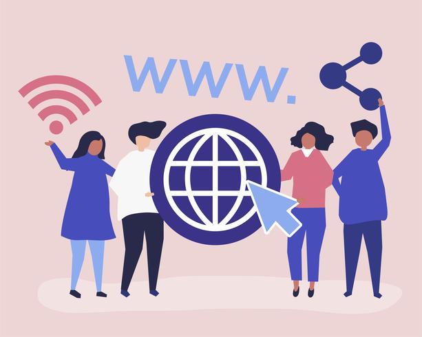 Tecken illustration av personer som håller globala webben ikoner
