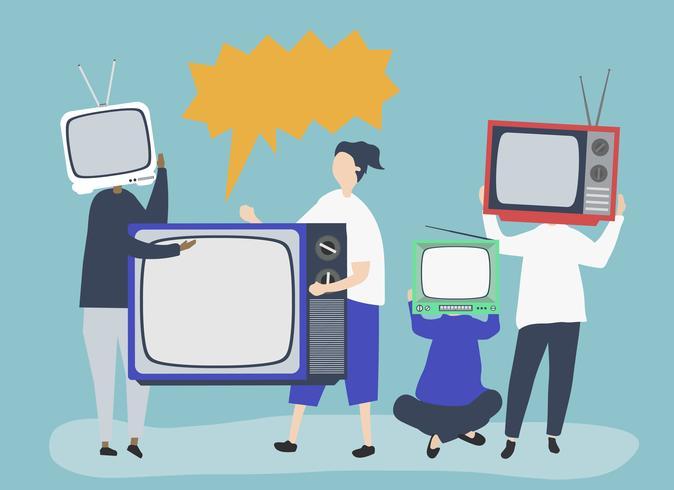 Karakterillustratie van mensen met analoge TV-pictogrammen
