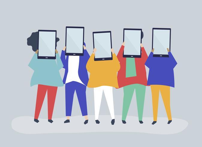 Ilustração de personagem de pessoas segurando tabuletas digitais