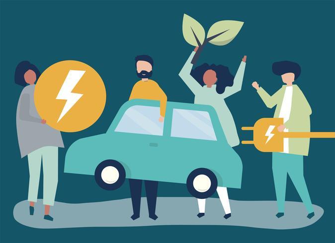 Grupo pessoas, com, um, carro elétrico vetor
