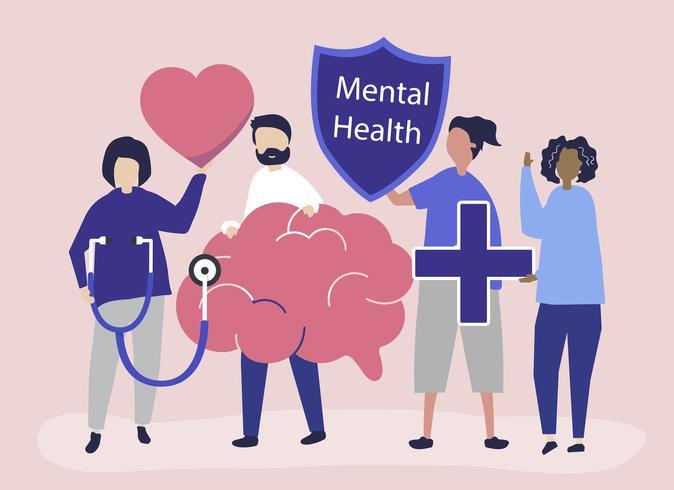 Personas con iconos relacionados con la salud mental.