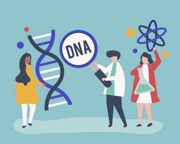 Genetische Wissenschaftler forschen und experimentieren