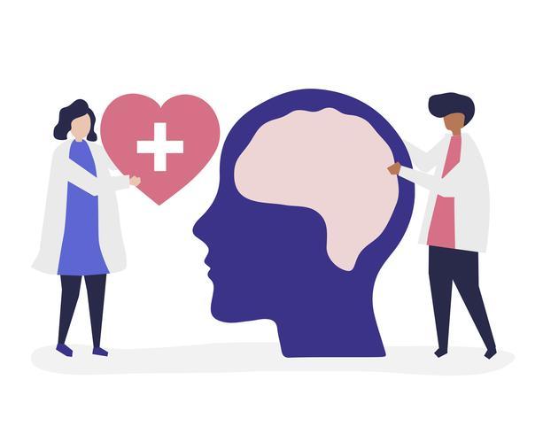 Neurocientíficos con un gráfico gigante de cerebro humano y un icono de corazón