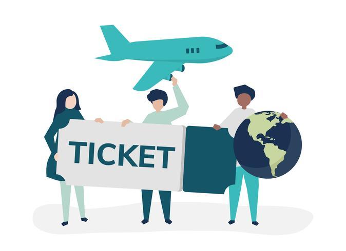 La gente che tiene le icone relative di un viaggio del biglietto di volo