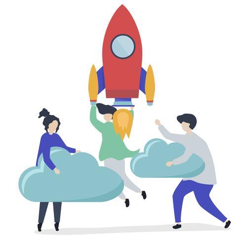Ett folk som håller på en lanserad raket och moln