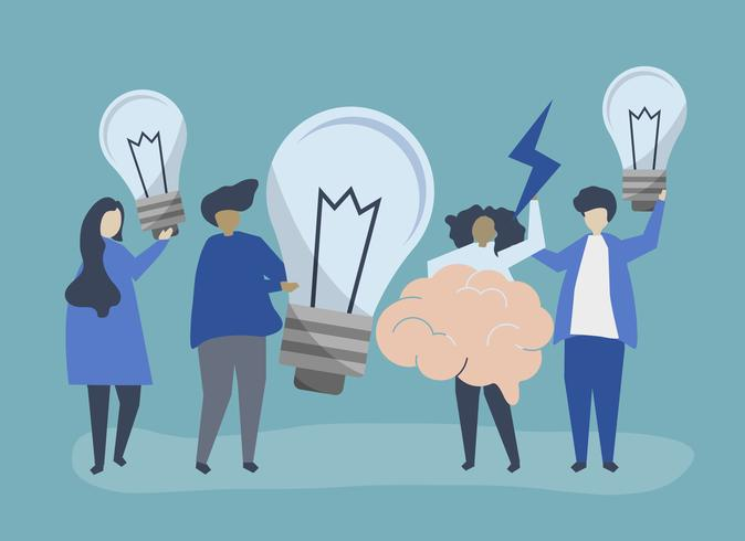 Idéias e criatividade conceito ilustração