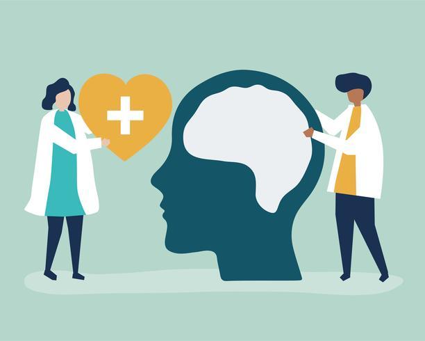 Neuroscientists avec un diagramme géant du cerveau humain et une icône de coeur