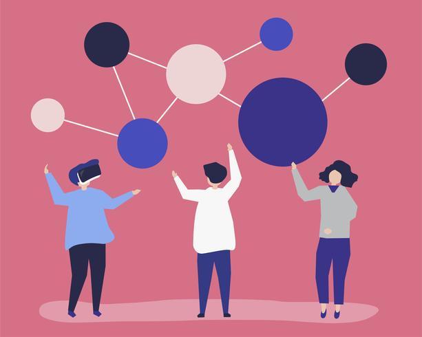 Illustrazione di carattere di persone con l'icona di rete