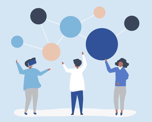 Karaktärs illustration av personer med nätverksikonen