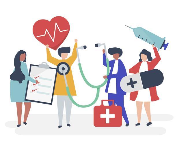 Groep medisch personeel die gezondheid verwante pictogrammen dragen