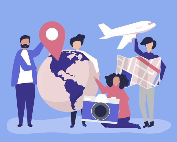 Personas con iconos relacionados con viajes