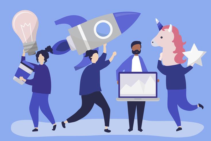 Caractères de gens tenant des icônes de concept de création d'entreprise