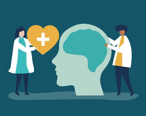 Neurowissenschaftler mit einem riesigen Diagramm des menschlichen Gehirns und einer Herzikone