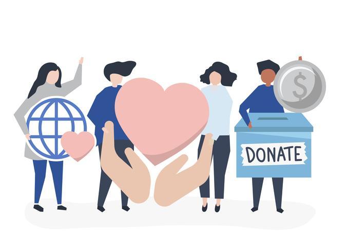 Personer som bär donations- och välgörenhetsrelaterade ikoner vektor