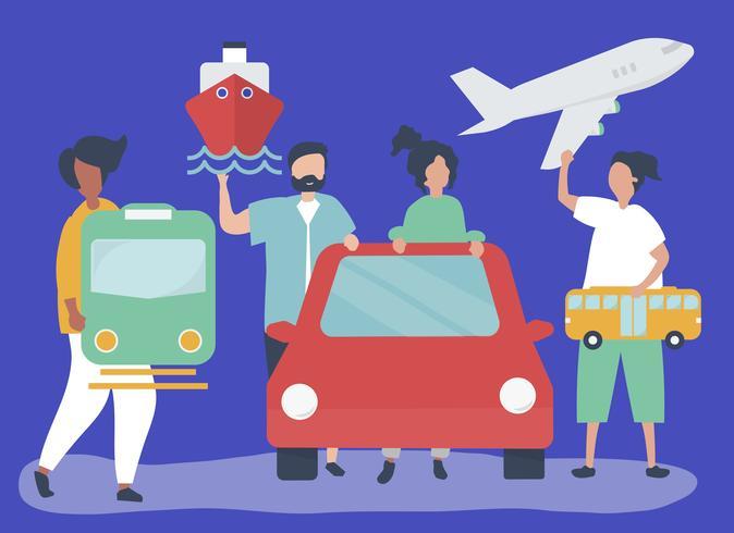 Leute, die verschiedene Transportikonen halten