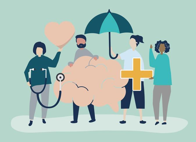 Mensen die pictogrammen houden met betrekking tot geestelijke gezondheid