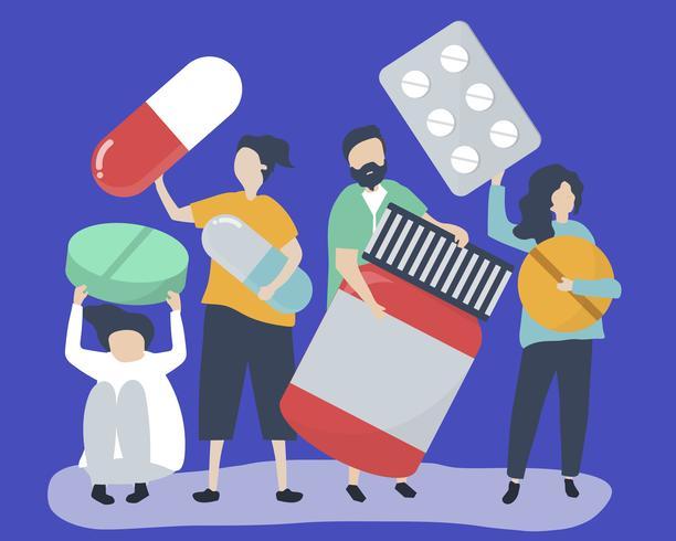 Caractères des personnes détenant des icônes pharmaceutiques illustration