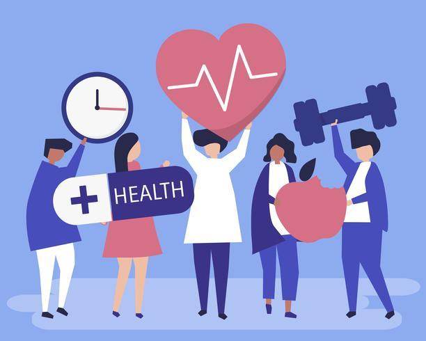 Personas sanas llevando diferentes iconos relacionados con un estilo de vida saludable.