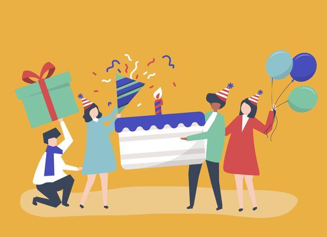 Illustration de caractère de personnes tenant des icônes de fête d'anniversaire