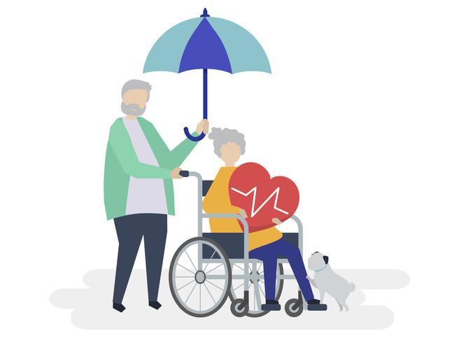 Pareja senior con iconos relacionados con el seguro de salud